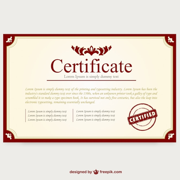 Certificate template layout Vector Free Download
