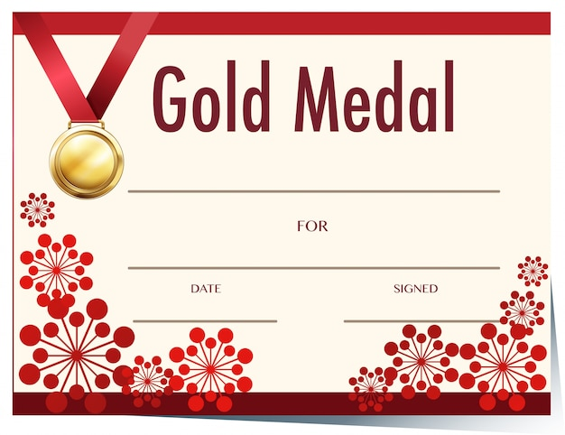 Certificate template with gold medal Vector Premium Download - gold medal templates
