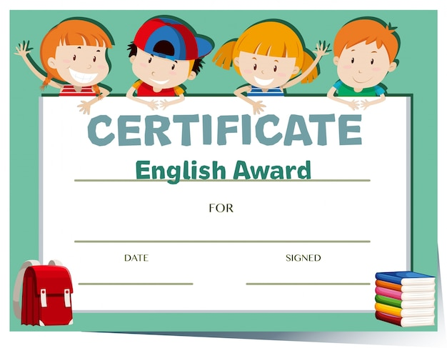 Certificate template with happy kids Vector Free Download - certificate template for kids