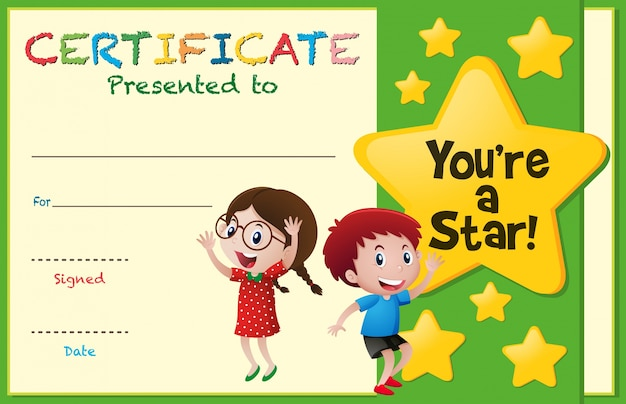 Certificate template with kids and stars Vector Premium Download - certificate template for kids