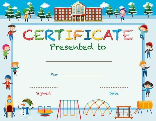 Certificate template with kids in winter at school Vector Free - certificate template for kids