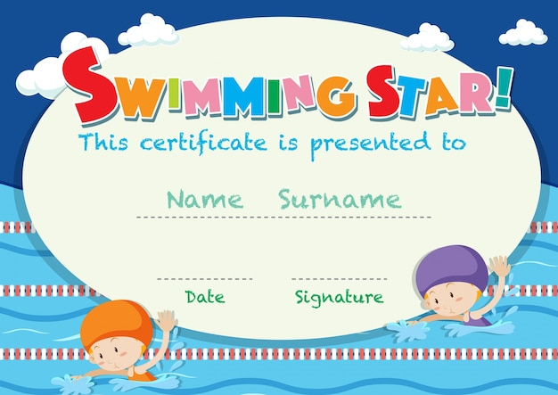 Certificate template with kids swimming Vector Free Download - certificate template for kids