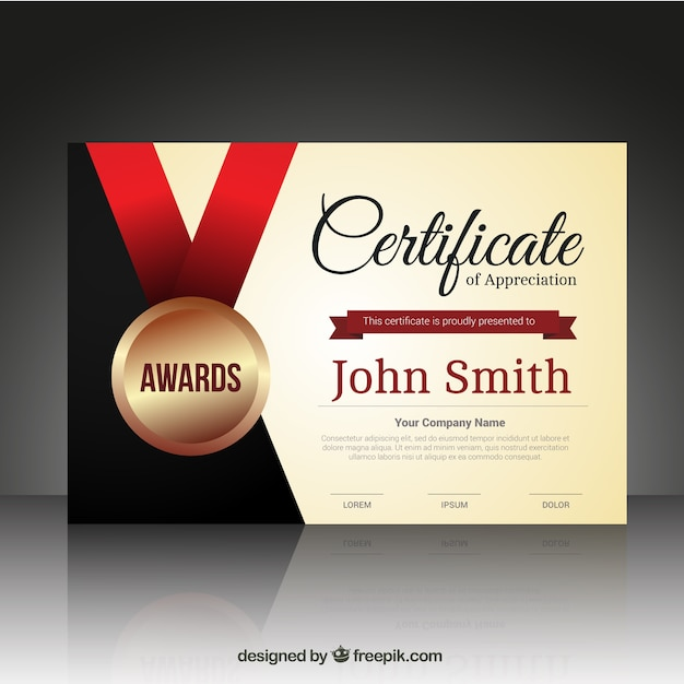 Certificate template with a medal Vector Free Download