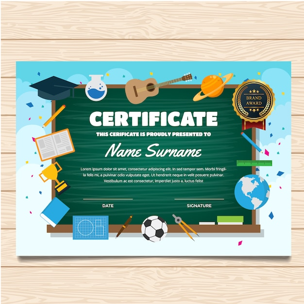 Certificate template with school design Vector Premium Download - school certificate templates