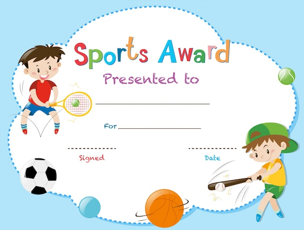 Certificate template with two boys playing sports Vector Premium