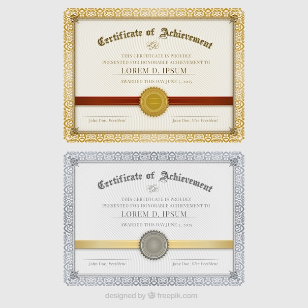 Certificates of achievement Vector Premium Download