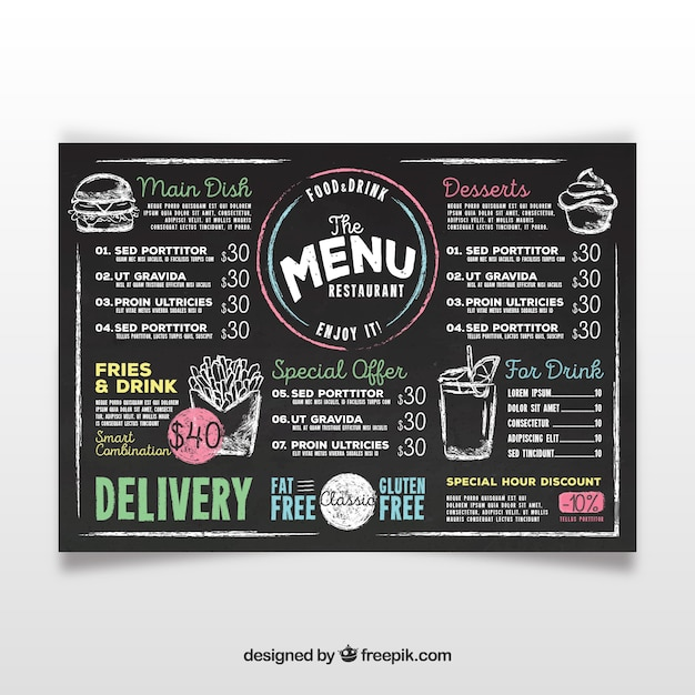 Chalkboard Menu Vectors, Photos and PSD files Free Download