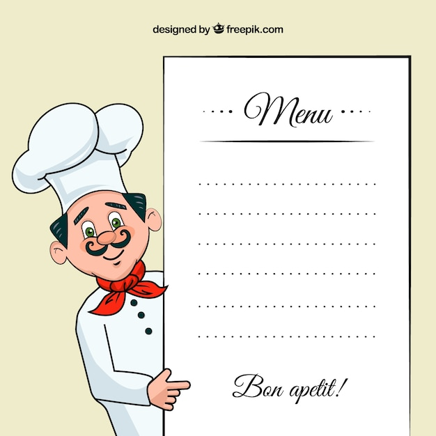 Chef illustration with a menu template Vector Free Download