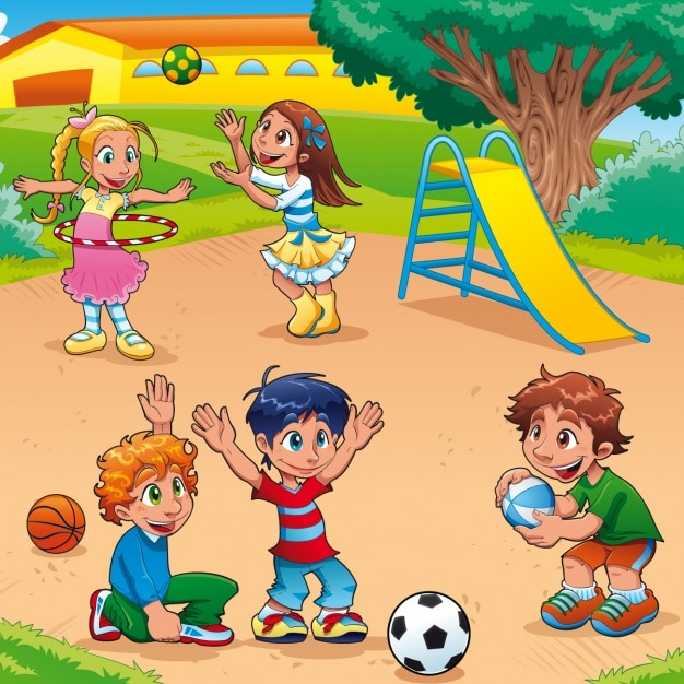 Children playing in the park Vector Free Download - cartoon children play