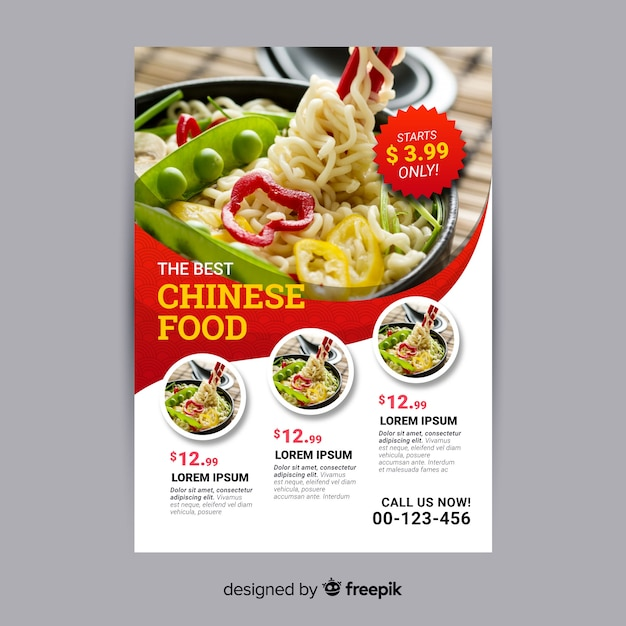 Chinese food flyer template Vector Free Download