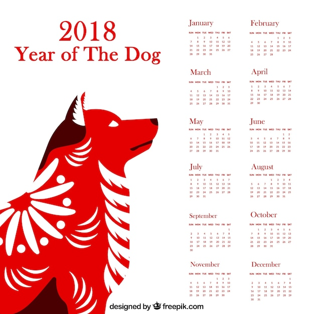 Chinese new year calendar with dog Vector Free Download