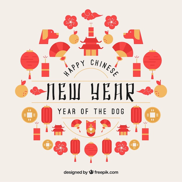 Chinese new year design Vector Free Download