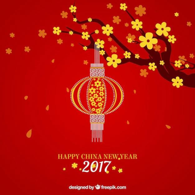 Nền đỏ đèn lồng vàng mừng năm mới 2017 new year lanterns vector - birthday card layout