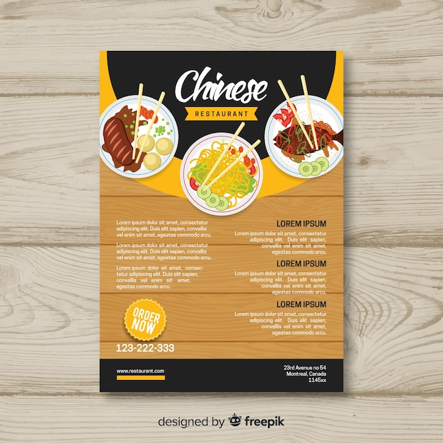 Chinese restaurant brochure template Vector Free Download