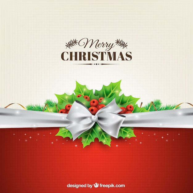 Christmas background with a silver bow Vector Free Download