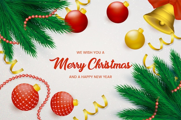 Christmas background with decorative balls Vector Free Download