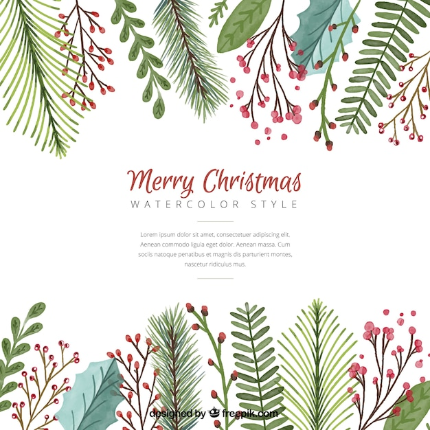 Christmas background with watercolor leaves Vector Free Download - christmas background image