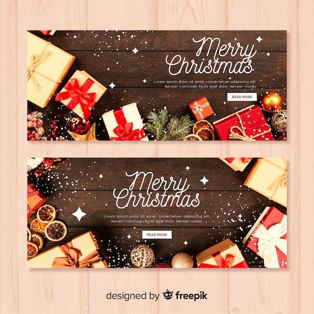 Christmas banner template Vector Free Download