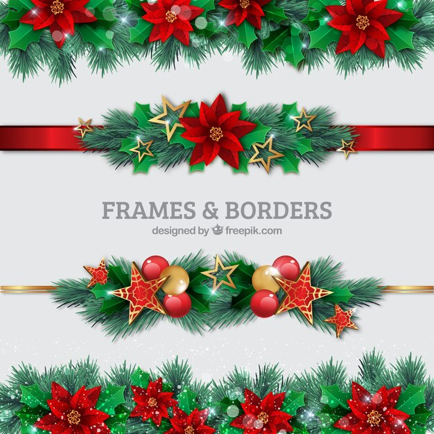 Christmas borders set Vector Free Download