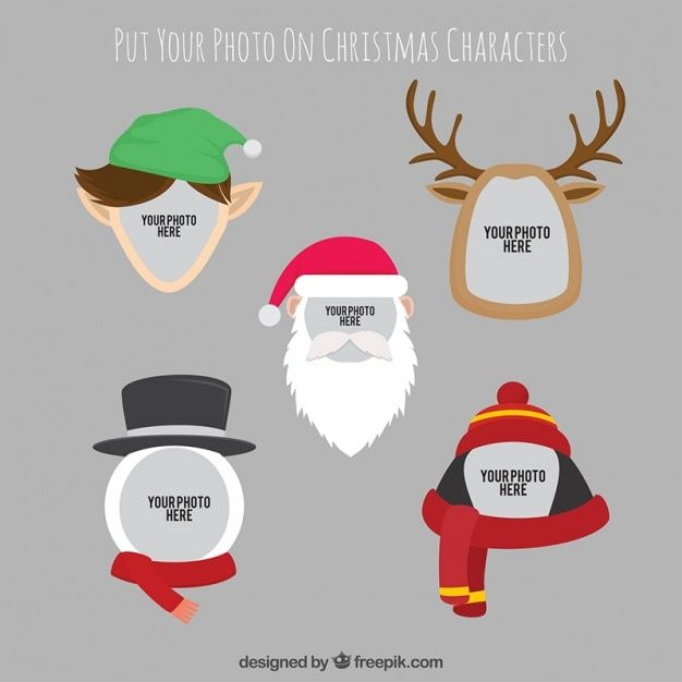 Christmas characters photography template Vector Free Download