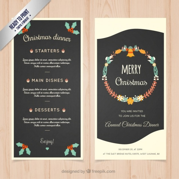 Christmas dinner menu template Vector Free Download