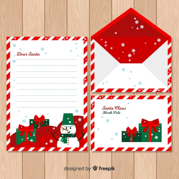 Christmas envelope flat snowman template Vector Free Download