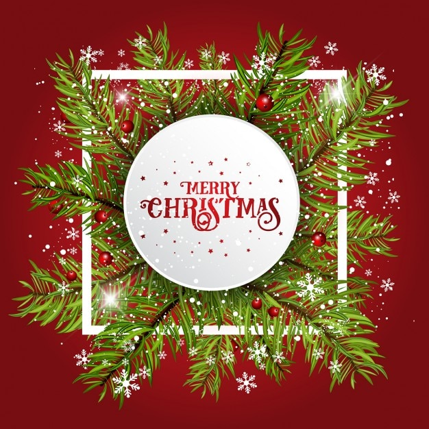 Christmas frame, red background Vector Free Download