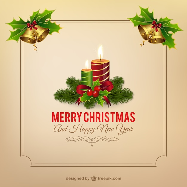 Christmas frame with candles Vector Free Download