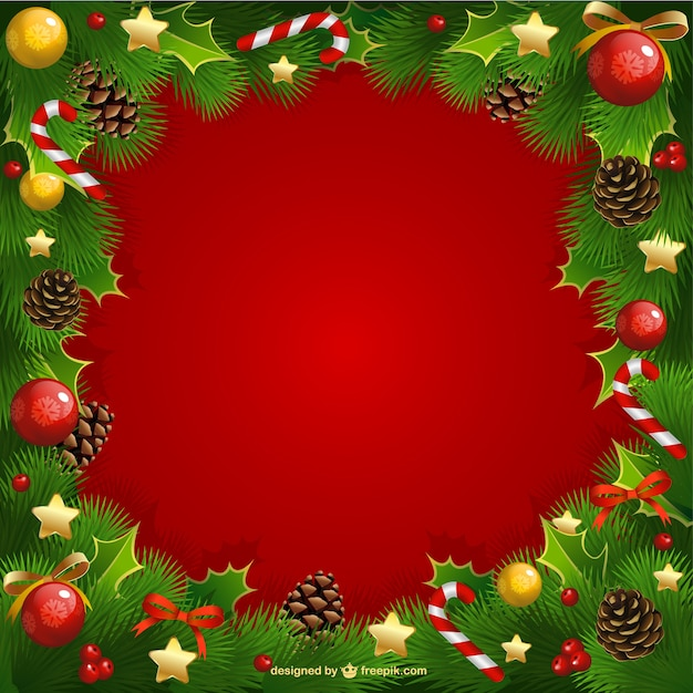 Christmas frame with mistletoe Vector Free Download