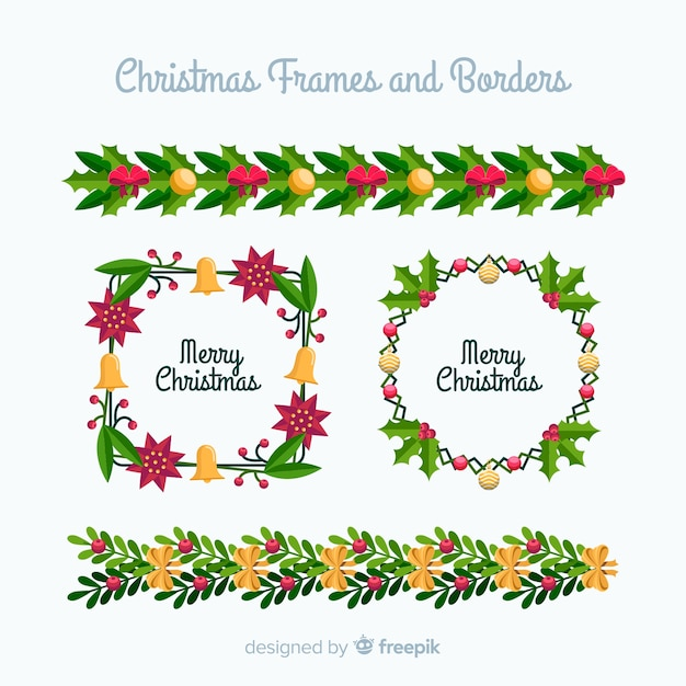 Christmas frames and borders Vector Free Download