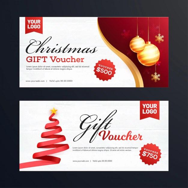 Christmas gift vouchers Vector Premium Download