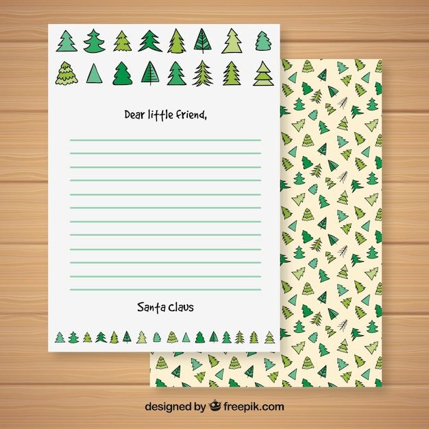 Christmas letter template with a christmas tree pattern Vector