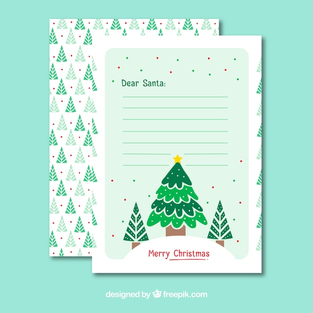 Christmas letter template with christmas tree Vector Free Download