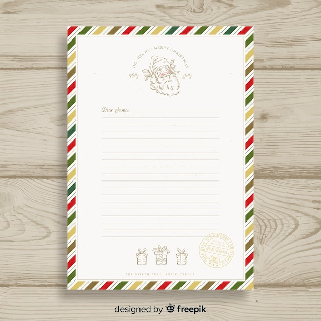 Christmas letter template Vector Free Download