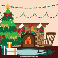 Christmas living room interior with a fireplace Vector ...