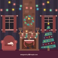 Christmas living room with santa claus inside the ...