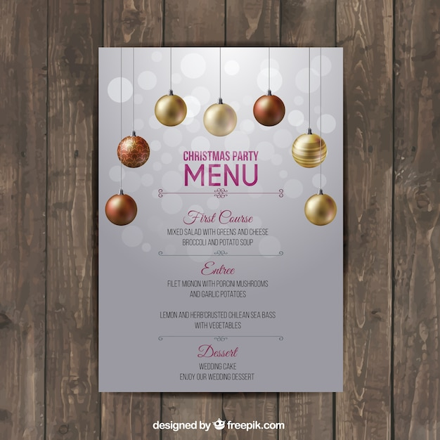 Christmas menu template Vector Free Download - dinner menu templates free