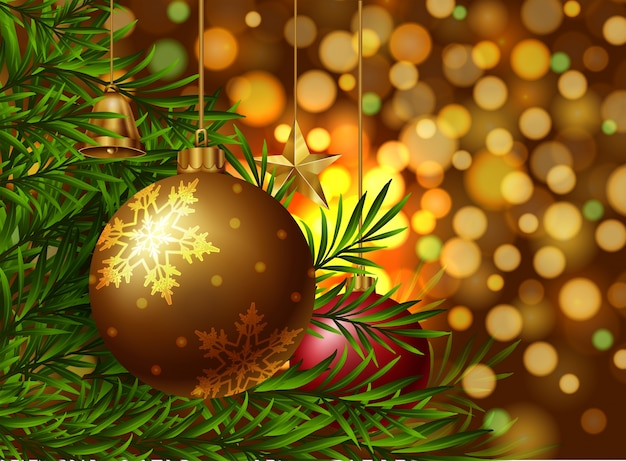 Christmas theme background with ornaments on the tree Vector - christmas theme background