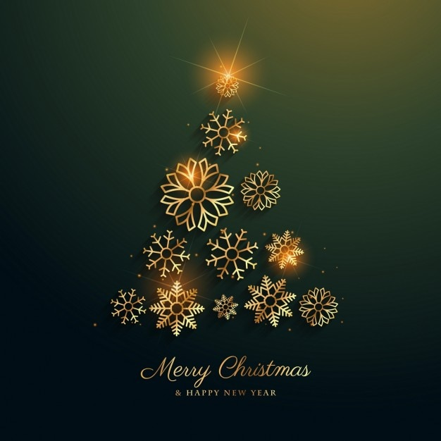 Christmas tree background made of snowflakes Vector Free Download