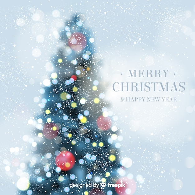 Christmas tree bokeh background Vector Free Download