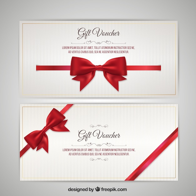 Christmas Voucher with Bow Pack Vector Premium Download - Travel Gift Certificate Template Free