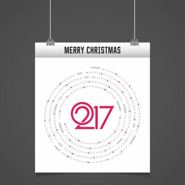 Circular calendar 2017 Vector Free Download - circular calendar