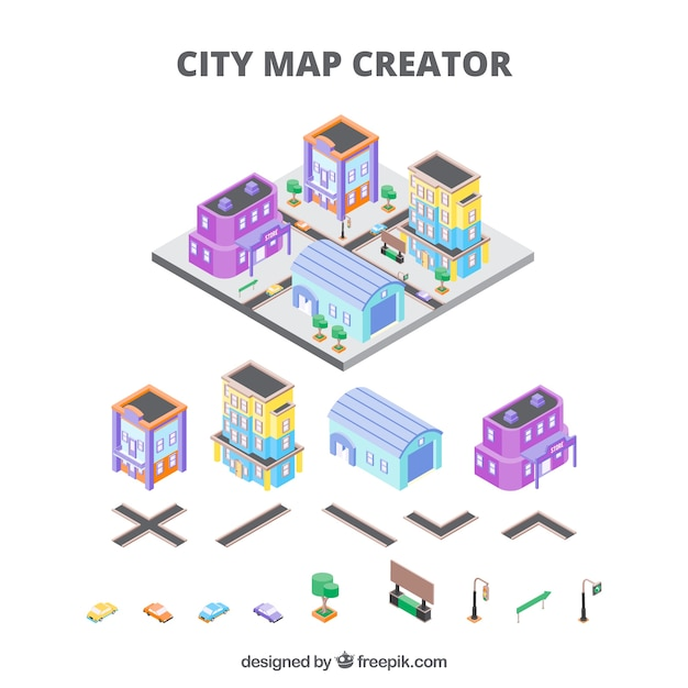 City creator in isometric view Vector Free Download - isometric view