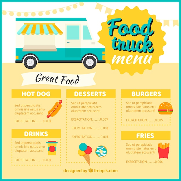 Classic food truck menu template Stock Images Page Everypixel