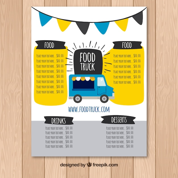 Download Vector - Classic food truck menu with hand drawn style - food truck menu template