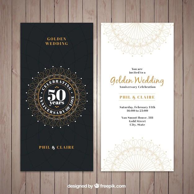 Classic golden wedding invitation Vector Free Download