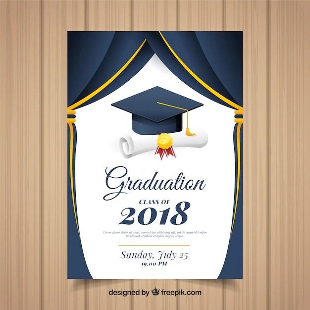 Classic graduation invitation template with flat design Vector
