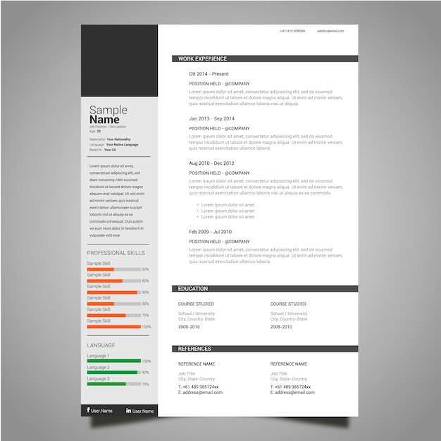 Classic resume template Vector Free Download