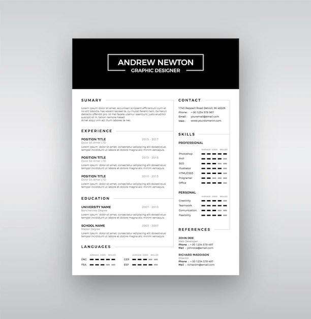 Classic resume template Vector Premium Download