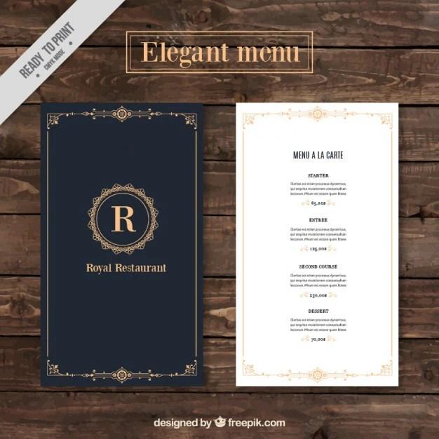 Classy menu restaurant template Vector Free Download - a la carte menu template